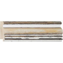 Moldura rustica con curvas en Madera y Blanco - 15x60mm