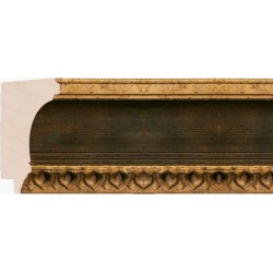 Moldura Clásica Oro y Verde con motivos en filo - 48x82mm