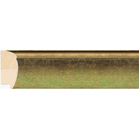 Moldura redondeada oro y verde - 27x61mm