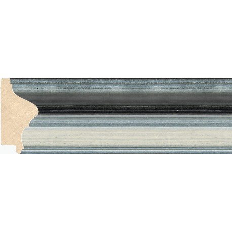 Moldura clásica en plata con franja negra - 34x72mm