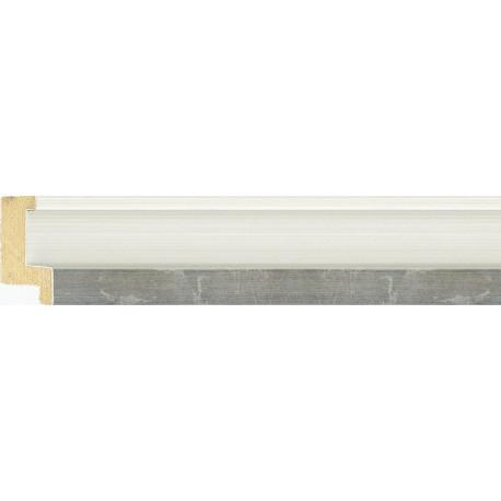Moldura blanca con cauce y filo plateado - 21x45mm
