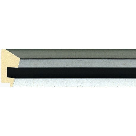 Moldura plateada con cauce negro - 26x60mm