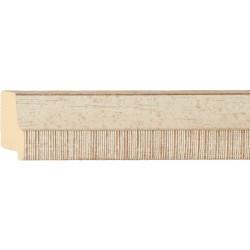 Moldura en blanco y madera con el filo rayado - 20x55mm