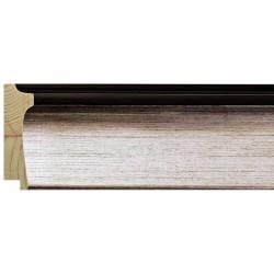 Moldura en plata con exterior negro - 23x70mm