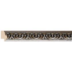 Moldura clásica tallada estrecha en plata - 23x26mm