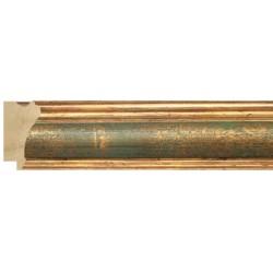 Moldura clásica dorada con centro en verde - 26x47mm