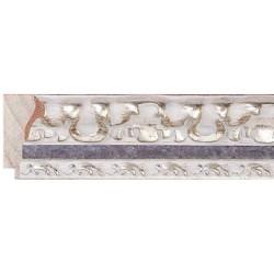 Moldura clásica tallada en blanco y plata - 30x55mm