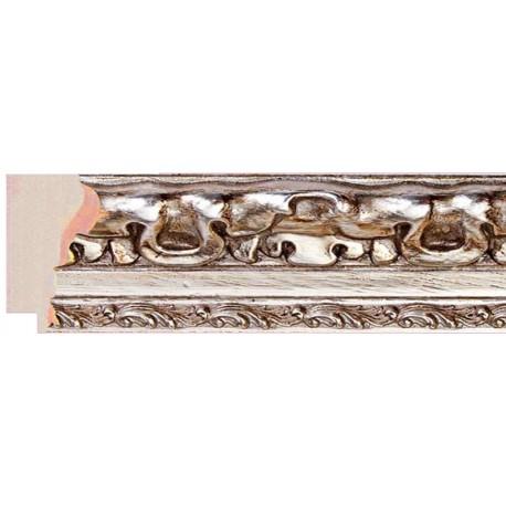 Moldura clásica tallada en plata y blanco - 30x55mm