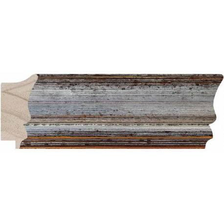 Moldura plateada de bordes gastados - 30x60mm